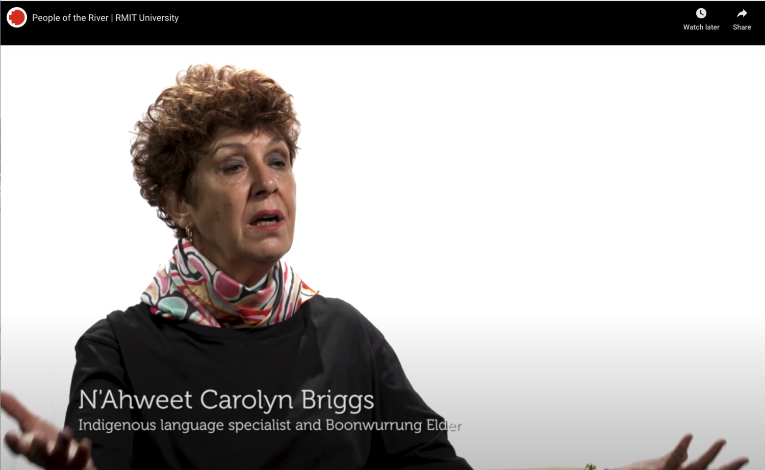 Screen shot of Aunty Briggs video